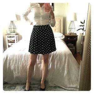 J Crew pleated navy skirt with polka dots, sz 0/00